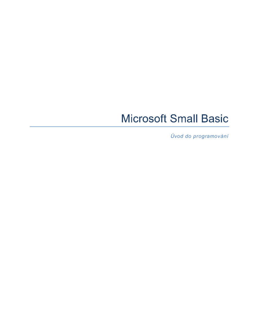 MS Small Basic Uvod