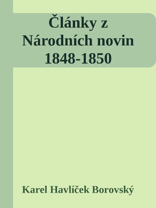 Články z Národních novin 1848-1850